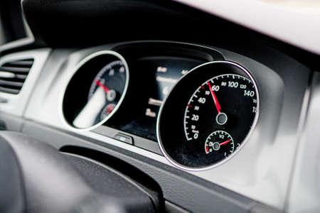 Electronic speed dashboard inside of modern car. Stock fotó