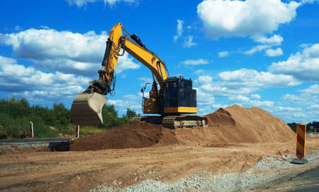 Heavy equipment works in the air. Road reconstruction Archivio Fotografico