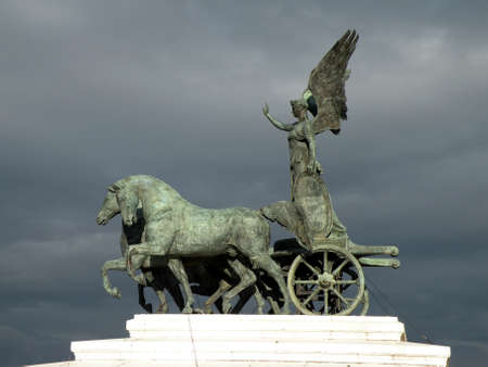 architecture monumental: Quadriga on top of Monument of Freedom Vittoriano, Rome, Italy Stock Photo