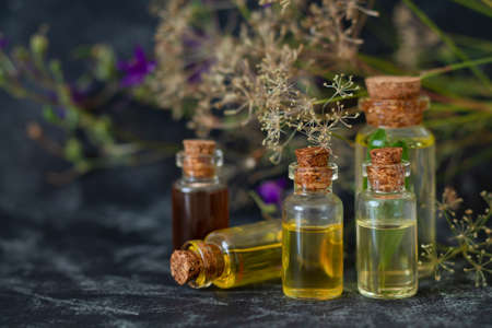 Herbal essential oils in glass bottles. Aromatherapy, spa, massage, skin care and alternative medicine concept