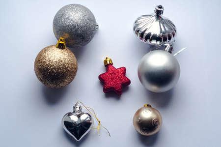 Christmas toys on white background
