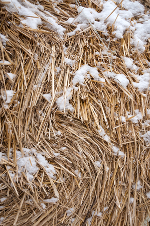 The texture of the hay bales with the snow.