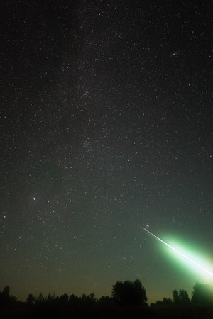 A very bright meteor from the constellation Perseus in August night