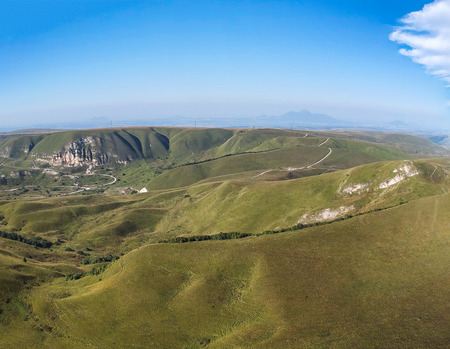 View from the height of the quadrocopter on the hills and mountains under Kislovodsk Imagens