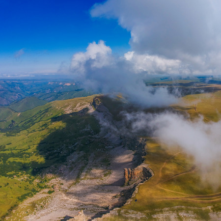 Plateau Bergamet from the height of the drone clear Sunny day in summer Banco de Imagens