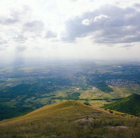 Large panorama view from the mountain Beshtau, summer sunny day near Pyatigorsk Stok Fotoğraf