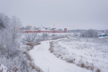 Panorama of Suzdal in the winter afternoon. Banco de Imagens