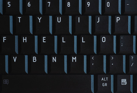 The word HELLO on the keyboard