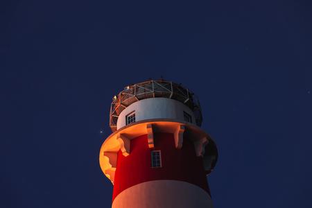 Red-white lighthouse star, spring night near Ryazan 写真素材