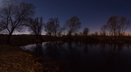 Large panorama  Forest by the river starry night in the moonlight Stock Photo