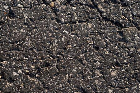 Macro texture of old cracked asphalt Stock Photo