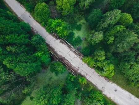 Old bridge in the middle of a small , overgrown river in the forest from a height