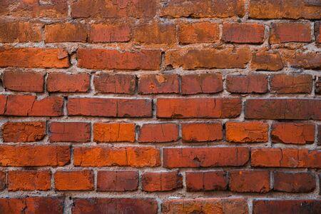 Texture of old red brick masonry