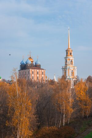 The views of Ryazan Kremlin, among the orange trees in the fall