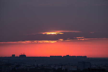 Beautiful orange sunset over the city of Ryazan in summer