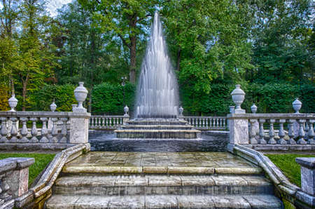 the eighteenth: The cascade Pyramid fountain in the park of Peterhof. Stock Photo