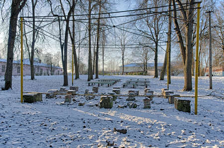 sorted: The sorted summer stage in the winter desert park (city of Porkhov, Russia) Stock Photo
