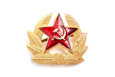 Cockarde-emblem of a military headdress of the USSR on a white background