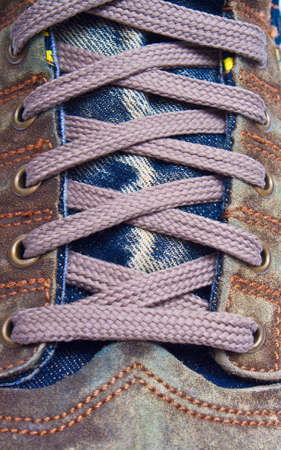Close up a lacing of sports footwear