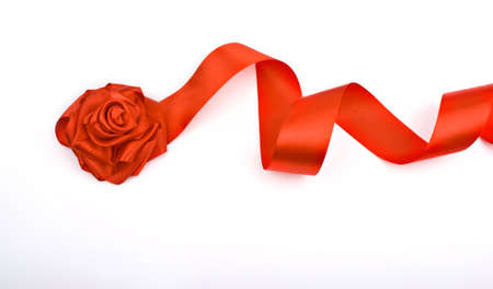 Red rose flower of satin ribbon