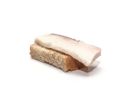 Sandwich from rye bread with bacon isolated on white background