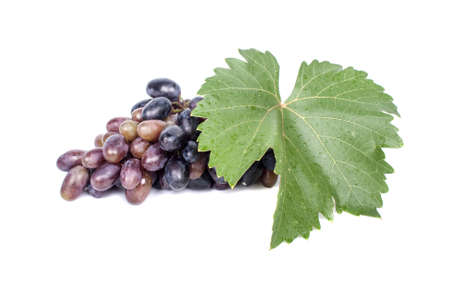 Bunch of grapes with leaf isolated on white background