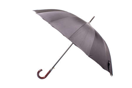 Black umbrella with wooden handle photo