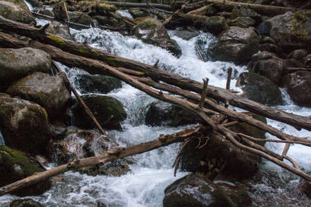 Mountain river push its way among the rocks and fallen trees in autumn Stock Photo