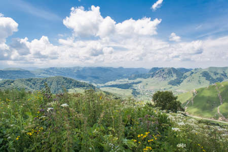 A photo of the landscape views from the pass Gum-Bashi in the mountains of the North Caucasus Stock Photo