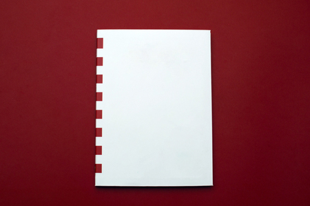 Front view of the white sketchbook with red stripes on the red background