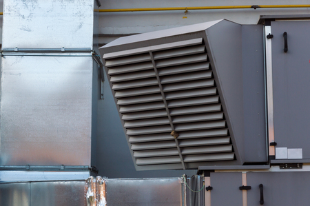 Close-up view of the ventilation of the industrial ventilation unit standing outdoor