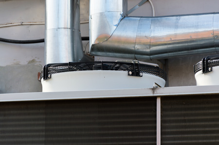 Close-up view of the fans of industrial cooling unit for central ventilation system