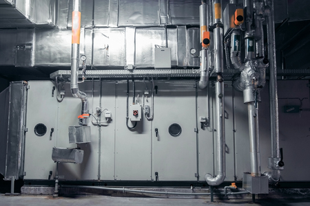ac, air conditioning, plant roiom, industrial ventilation Stock Photo