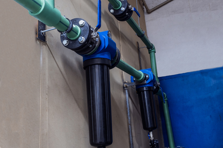 modern industrial pipeline with water filters for heating system