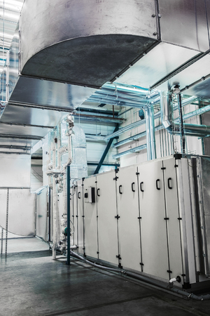 Industrial ductwork connected to the industrial air conditioner