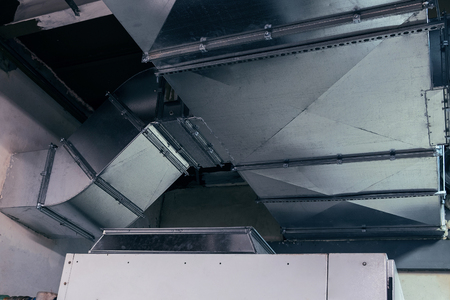duct, ductwork, ventilation, air conditioning, industrial, modern, metallic Stock Photo