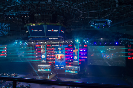 MINSK, BELARUS - JANUARY 17, 2016 Starladder iLeague championship Dota 2 and Counter Strike Global Offensive. Teams are preparing for the competition in their gaming cabins.