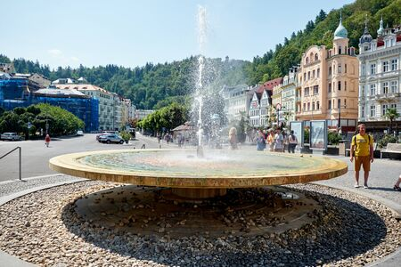 KARLOVY VARY, CZECH REPUBLIC - AUGUST 04, 2018 Side view of the Hot Spring, the 1st mineral spring in Karlovy Vary Redactioneel