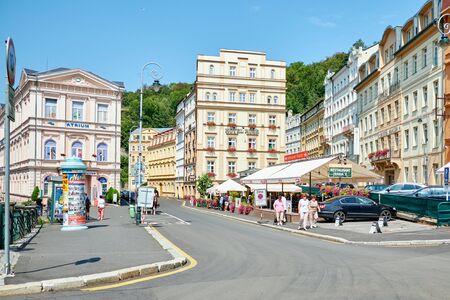 KARLOVY VARY, CZECH REPUBLIC - AUGUST 04, 2018 City center of Carlovy Vary Redactioneel