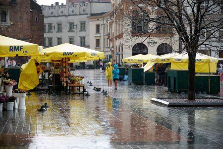 Krakow, travel, tourism, summer, rain, journey, square