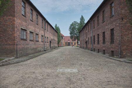 Auschwitz, fence, tower, barbed wire, barracks