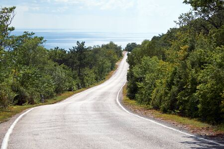 Outgoing road in the mountains with in Crimea. Stockfoto