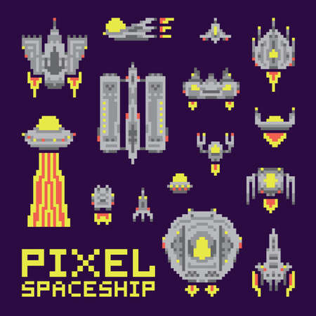 invader: Spaceship isolated vector set pixel art style Illustration