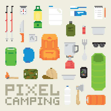 old gas stove: Pixel art camping goods isolated vector objects pixel art style