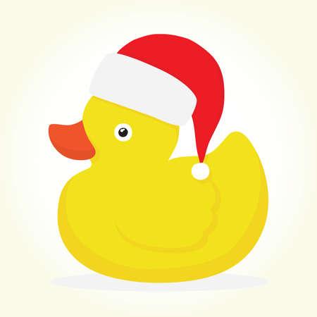 Rubber duck in hat merry christmas vector illustration Illustration