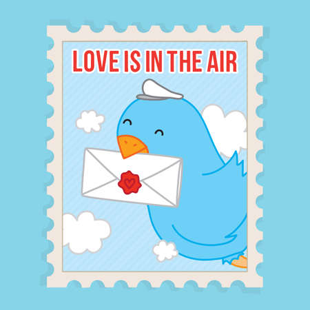 perforated: Love is in the air. Valentines Day vector postcard illustration Illustration