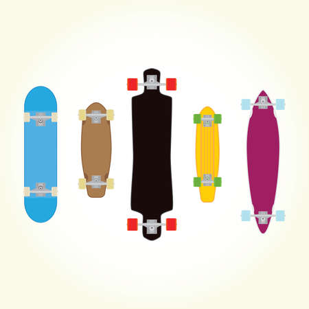 Skateboard and long board shapes isolated vector set Illustration