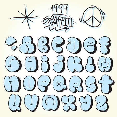 Graffiti hand drawn bubble vector font set