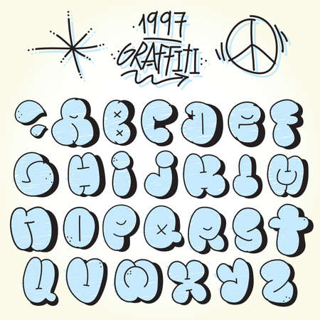 Graffiti hand drawn bubble vector font set