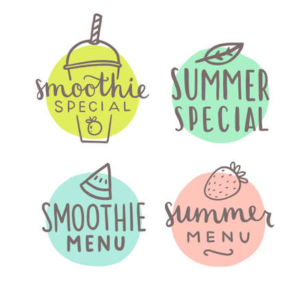 A Smoothie special hand drawn badges. Vector hand drawn illustration